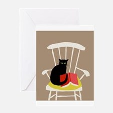Cat on a Chair with a Book, Vintage Poster Greetin