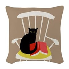 Cat on a Chair with a Book, Vintage Poster Woven T
