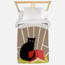 Cat on a Chair with a Book, Vintage Poster Twin Du