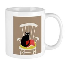 Cat on a Chair with a Book, Vintage Poster Mug