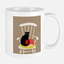 Cat on a Chair with a Book, Vintage Poster Small Small Mug