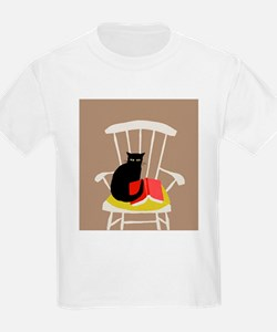 Cat on a Chair with a Book, Vintage Poster T-Shirt