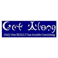 "Coexist Bumper Sticker Parody ""Get Along&quot"