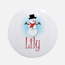 Snowman - Lily Ornament (Round)