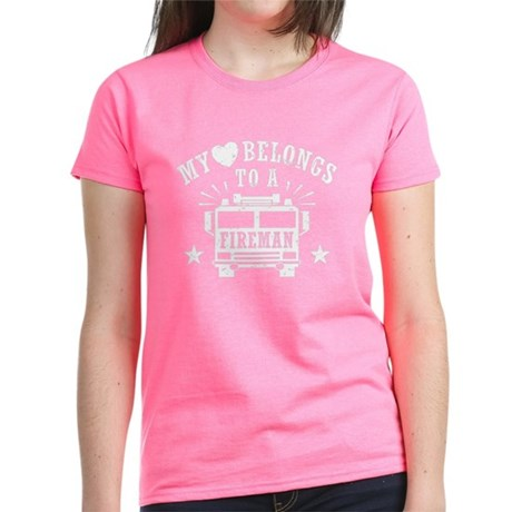 My Heart Belongs to a Fireman Women's Dark T-Shirt