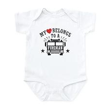 My Heart Belongs to a Fireman Infant Bodysuit