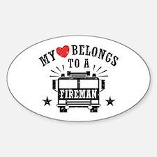 My Heart Belongs to a Fireman Decal