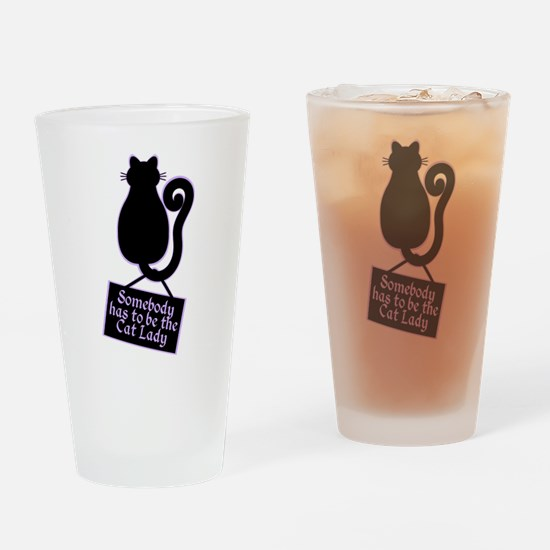 Cat Lady Drinking Glass