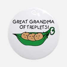 Great Grandma of Triplets Ornament (Round)