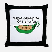 Great Grandma of Triplets Throw Pillow