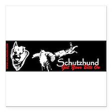 "Cute German shepherd dog sports Square Car Magnet 3"" x 3"""