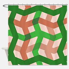Green Zig Zag Plaid Shower Curtain