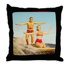 vintage surfers Throw Pillow