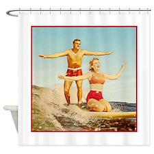 vintage surfers Shower Curtain