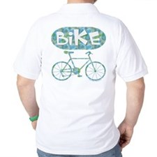 Patterned Bicycle Text Oval T-Shirt