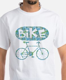 Patterned Bicycle Text Oval Shirt