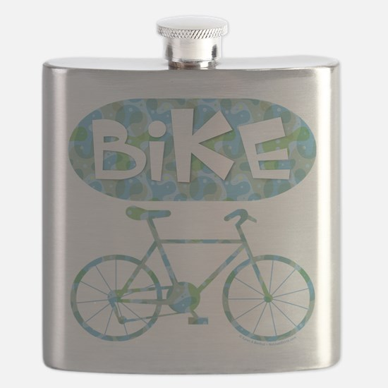 Patterned Bicycle Text Oval Flask