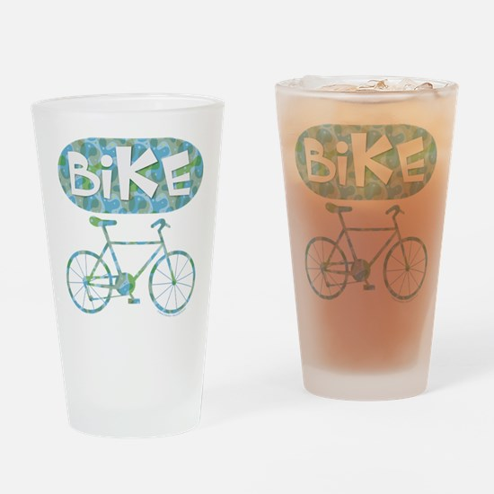 Patterned Bicycle Text Oval Drinking Glass