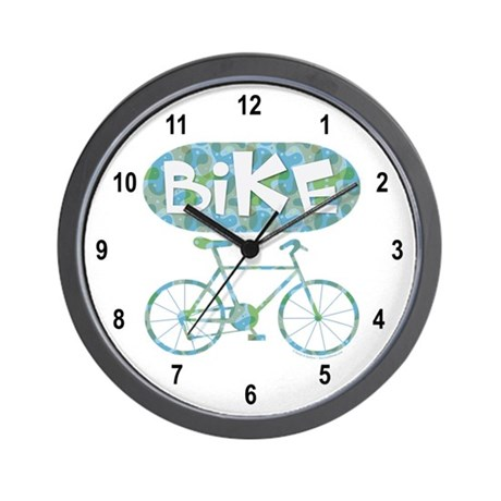Patterned Bicycle Text Oval Wall Clock