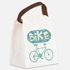 Patterned Bicycle Text Oval Canvas Lunch Bag