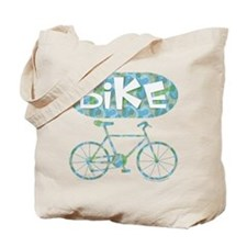 Patterned Bicycle Text Oval Tote Bag