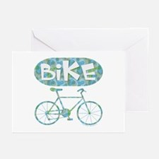 Patterned Bicycle Text Oval Greeting Cards (Pk of
