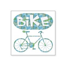 "Patterned Bicycle Text Oval Square Sticker 3"" x 3"""