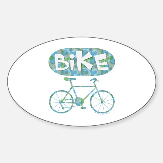 Patterned Bicycle Text Oval Sticker (Oval)