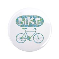 """Patterned Bicycle Text Oval 3.5"""" Button"""