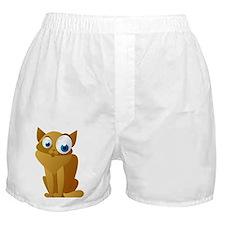 Orange Big Eyed Cat Boxer Shorts