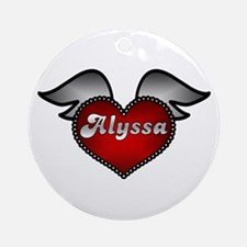 """""""Alyssa Heart with Wings"""" Ornament (Round)"""