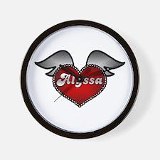 """Alyssa Heart with Wings"" Wall Clock"