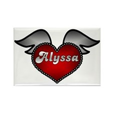 """Alyssa Heart with Wings"" Rectangle Magnet"