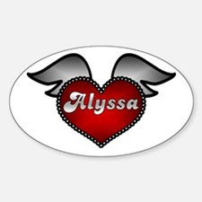 """Alyssa Heart with Wings"" Oval Decal"