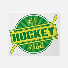 #1 Hockey Aunt Throw Blanket