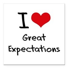 """I love Great Expectations Square Car Magnet 3"""" x 3"""