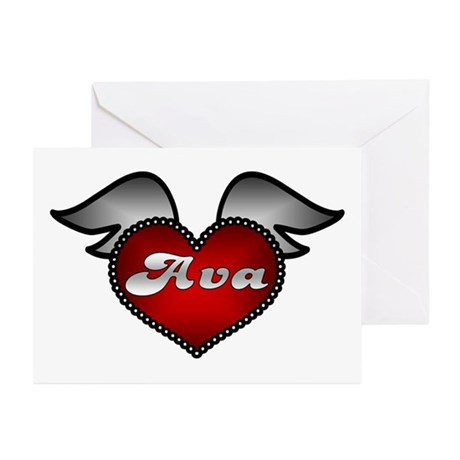 """""""Ava Heart with Wings"""" Greeting Cards (Package of"""
