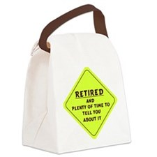 Retired Caution Sign Canvas Lunch Bag