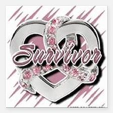 "Survivor in Heart Square Car Magnet 3"" x 3"""