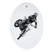 Dirt bike High Flying Oval Ornament