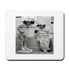 Little Girls weighing themselves on scale Mousepad