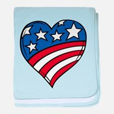 US Flag Heart baby blanket