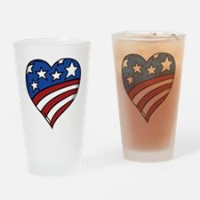US Flag Heart Drinking Glass