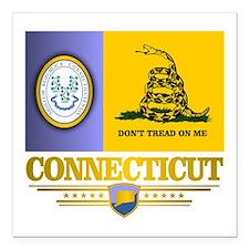 """Connecticut Gadsden Flag Square Car Magnet 3"""" x 3"""""""