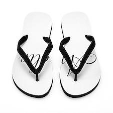 Amelie Black Script Personalized Flip Flops