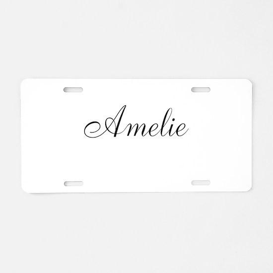 Amelie Black Script Personalized Aluminum License