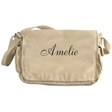 Amelie Black Script Personalized Messenger Bag