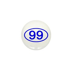 Number 99 Oval Mini Button (100 pack)