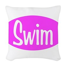 Swim Pink Oval Woven Throw Pillow
