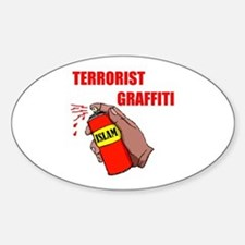 TERRORIST GRAFITTI Oval Decal